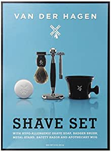 Van Der Hagen Luxe Shave Set with Stainless Razor, Stand, Deluxe Brush, Mug and Soap
