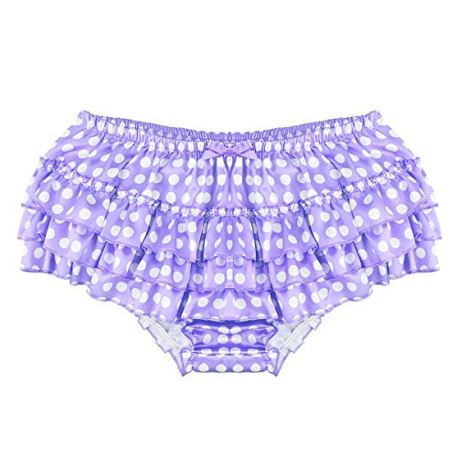 Thong Lace Ruffle - ACSUSS Men's Satin Frilly Thong Sissy Crossdress Bloomer Ruffled Skirted Panties Type B Purple XX-Large(Waist 33.0
