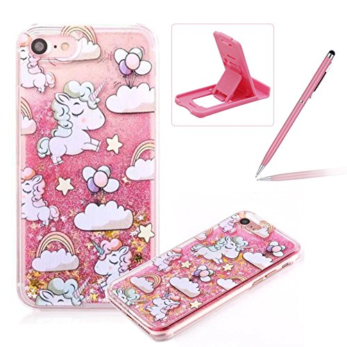 Liquid Hard Case for iPhone SE,Pink Glitter Clear Case for iPhone 5S,Herzzer Creative Funny Cartoon Unicorn Pattern Flowing Floating Stars Quicksand Sparkly Crystal Back Cover Case