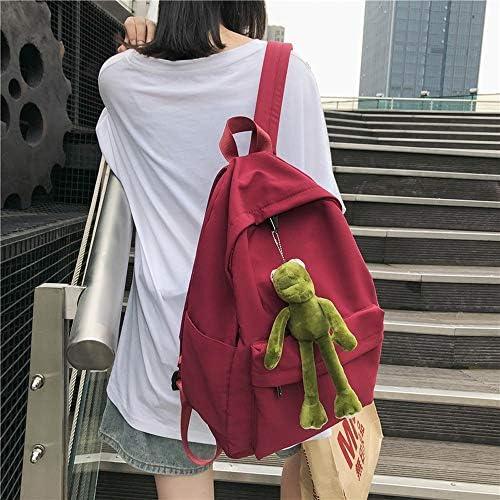 日本と韓国のスタイル原宿カエルの学校のバッグ女性のバックパック大学生のキャンパスシンプルでかわいい、純粋な野生のレジャー大容量レトロ (Color : Red)