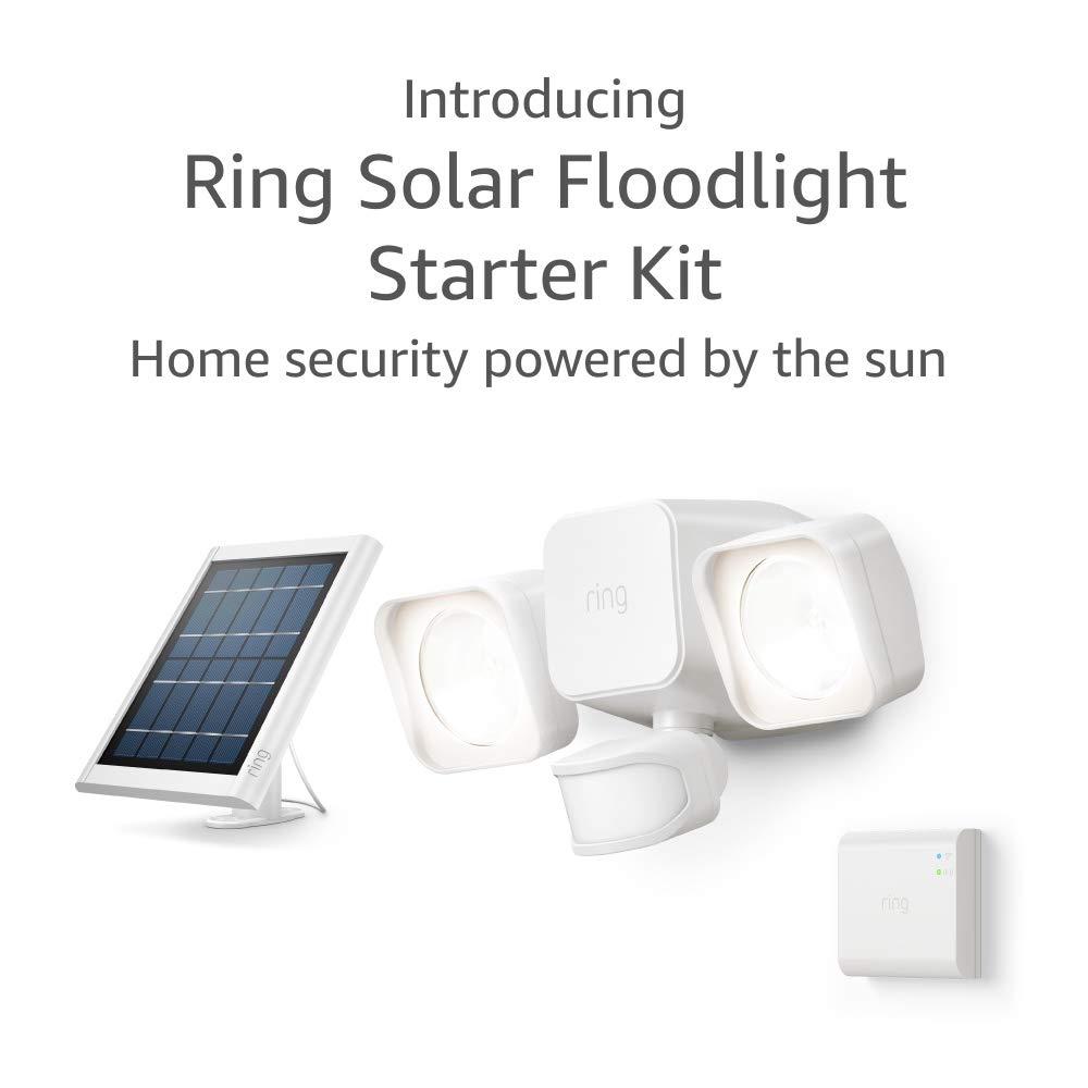 Introducing Ring Solar Floodlight, Outdoor Motion-Sensor Security Light, White (Starter Kit)