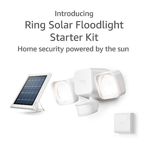 Introducing Ring Solar Floodlight, Outdoor Motion-Sensor Security Light, White Starter Kit