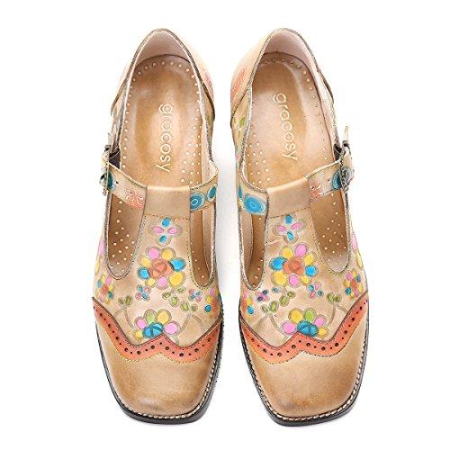 Mary Da Balletto Estate Jane Punta Chiaro Medio Tacco Mocassini Loafers Casual Primavera Pompe Di Pelle Donna Marrone Basse Barca Pantofole Gracosy Chiusa Scarpe fdt74aqt