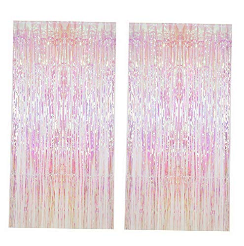 Mikash 2pcs Metallic Foil Fringe Curtain Transparent Pink Backdrop tive Door Window Curtain for Birthday Party Shower Wedding Tion | | Model WDDNG - 1187 -