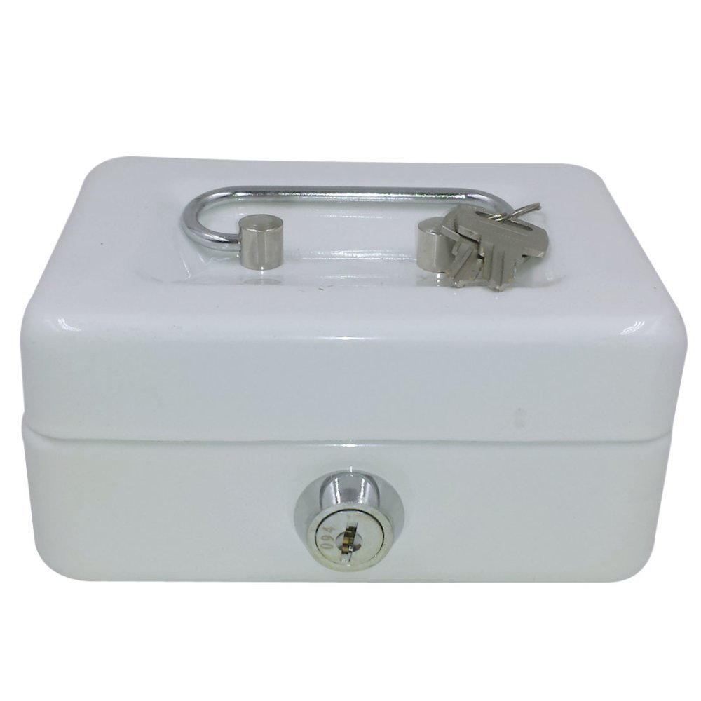 Royal Brands Cash Box with Key Lock, Portable Metal Storage Box, Money Box w/Double Layer 2 Keys for Security, Festivals, Fundraisers, Garage/Yard Sales (White, S 6x4.5x3 in)