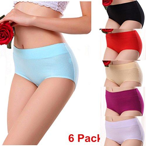 Mercea Women's Briefs Panties Low Waist Full Cotton Healthy Underwear Hipster 6 Pack (Tag L, C Set)