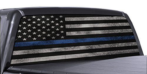 (FGD Brand Truck Rear Window Wrap Thin Blue Line American Flag Perforated Vinyl Decal)
