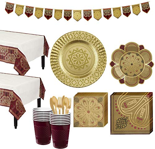 Party City Renaissance Tableware Party Kit for 16 Guests, Medieval Party Supplies, Includes Pennant Banner]()