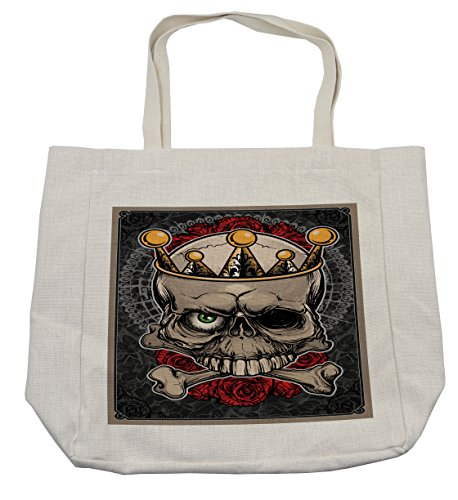 Lunarable Gothic Shopping Bag, Skull with Crown Roses Bones Dead King Halloween Illustration Art, Eco-Friendly Reusable Bag for Groceries Beach Travel School & More, (Day Dead Compared Halloween)