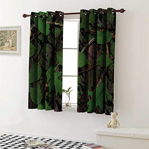 (Forest Blackout Draperies for Bedroom Tree Trunk Bark with Foliage Leaves Fresh Spring Nature Camouflage Design Curtains Kitchen Valance W72 x L63 Inch Fern Green Brown)