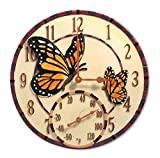 Taylor Precision Products Springfield 14'' Mosaic Butterflies Poly Resin Clock with Thermometer