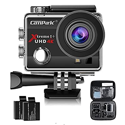 Campark ACT74 Action Camera 16MP 4K WiFi Waterproof Sports Cam 170° Ultra Wide-Angle Len with 2 Pcs Rechargeable Batteries and Portable Package