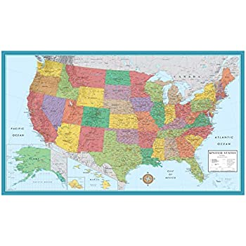 Amazoncom Contemporary US Tyvek Paper Map Wall Maps Office - Map of states of usa