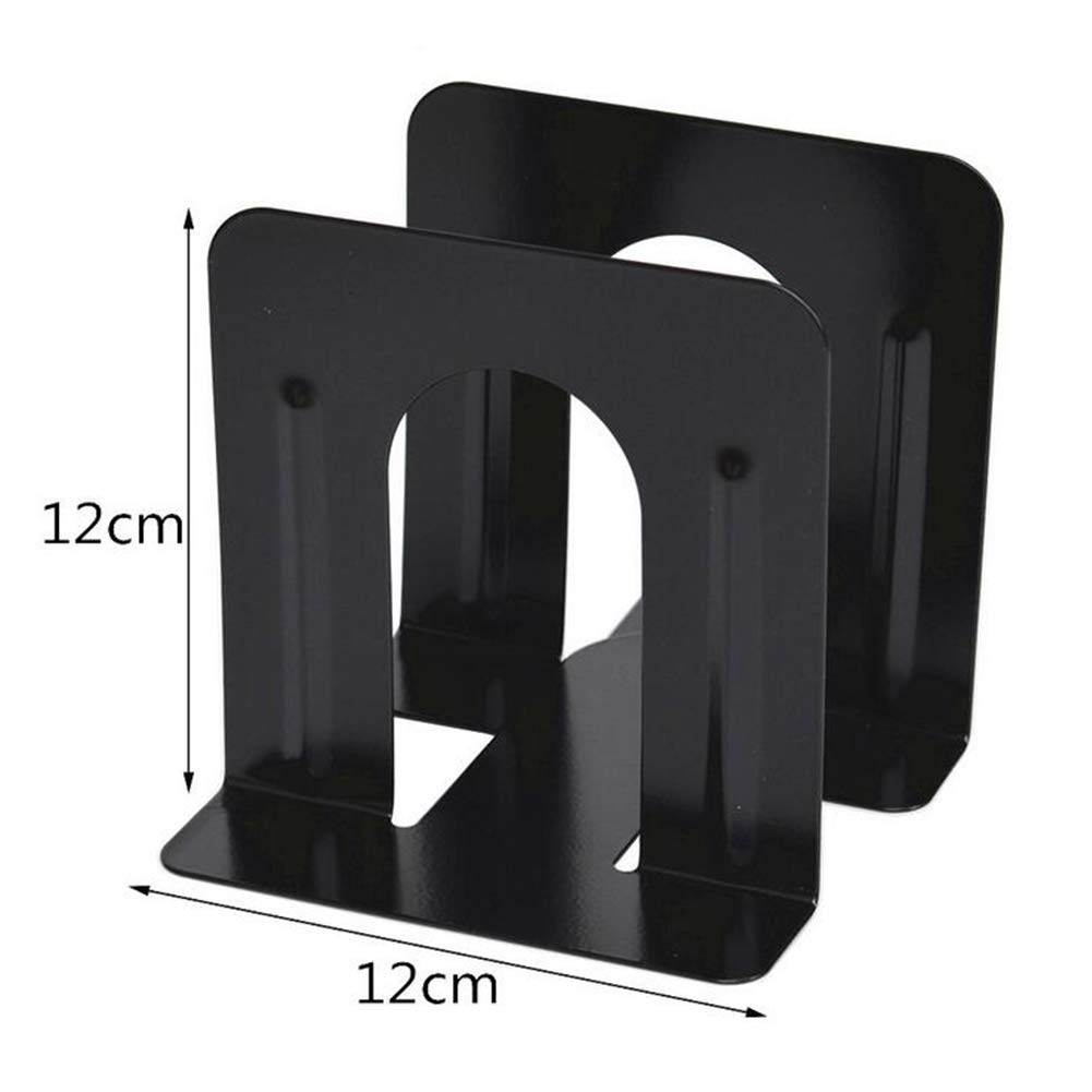 2Pcs Metal Bookends Non-Skid Heavy Duty Metal Book Ends Book Support Book Stopper for Office School Home Black