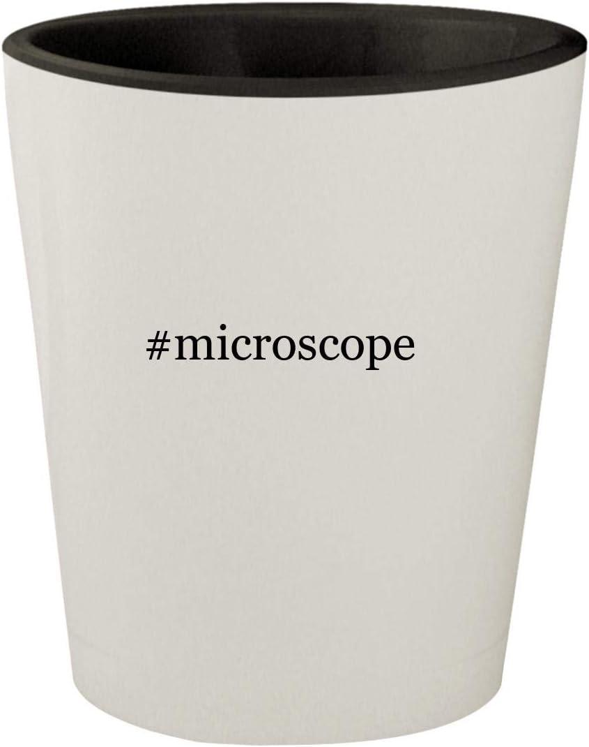 #microscope - White Outer & Black Inner Hashtag Ceramic 1.5oz Shot Glass