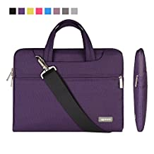 """Qishare 11.6"""" 12"""" Purple Tablet / Laptop / Chromebook / Macbook/ Ultrabook Multi-functional Business Briefcase Sleeve Pouch /Messenger Case Tote Bag Cover with Handle and Carrying Strap for Acer / Asus / Dell / Fujitsu / Lenovo / Hp / Samsung / Sony / Toshiba Computer, Suitable for Students/computer Worker/women/men/ladies/girls/boys/teens Design (Purple, 11.6-12'')"""