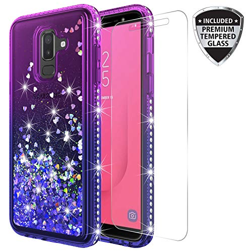 Samsung Galaxy J8 2018 Case with Tempered Glass Screen Protector, Rosebono Quicksand Glitter Sparkly Rhinestone Liquid Shiny Colorful Protective Cover for Samsung Galaxy J8 (Blue/Purple)