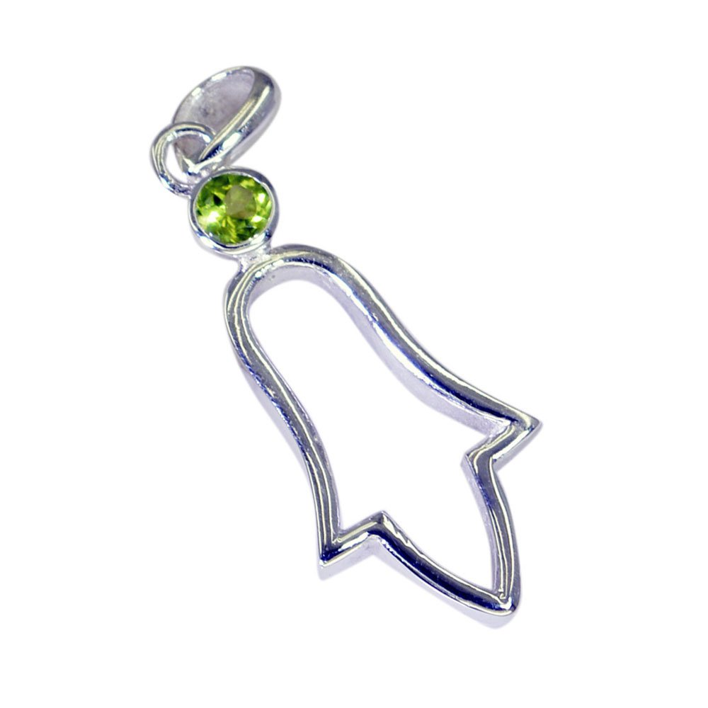 GEMSONCLICK Real Green Peridot Sterling Silver Fashion Jewelry Pendants Round Shape August Birthstone