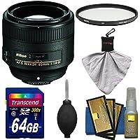 Nikon 85mm f/1.8G AF-S Nikkor Lens with UV Filter + 64GB SD Card + Kit for D3200, D3300, D5200, D5300, D7000, D7100, D610, D800, D810, D4s DSLR Cameras