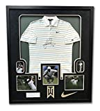 Tiger Woods Tournament Worn & Autographed Nike Golf Polo In 43x49 Frame 1/1 - Upper Deck Certified - Autographed Golf Equipment