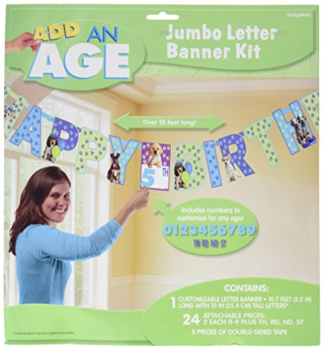 """New Amscan Cute Party Pups Jumbo Add-An-Age Letter Banner Birthday Party Decorations, 12.7"""" x 11.7""""."""