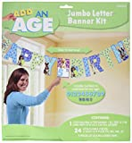 Cute Party Pups Jumbo Add-An-Age Letter Banner Birthday Party Decorations, 12.7' x 11.7'.