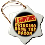 3dRose I Survived Bringing Home The Bacon Survial Pride and Humor Design - Snowflake Ornament, Porcelain, 3-Inch (orn_117813_1)
