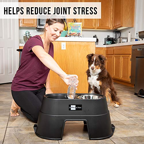 OurPets Comfort Diner Elevated Dog Food Dish (Raised Dog Bowls Available in 4 inches, 8 inches and 12 inches for Large Dogs, Medium Dogs and Small Dogs), Black, 12-inch