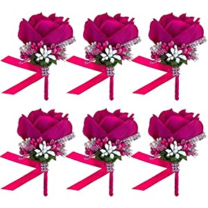 JaosWish 6PCS Flower Men Boutonniere Handmade Silk Men Corsage for Groom Wedding Party Suits 64