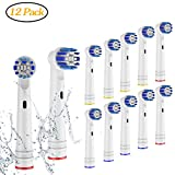 Replacement Toothbrush Heads Compatible Oral B Braun 12 Pack Professional Electric Toothbrush Heads Sensitive Clean Brush Heads Refill for Oral-B 7000 Pro 1000 9600 500 3000 8000 12Pack