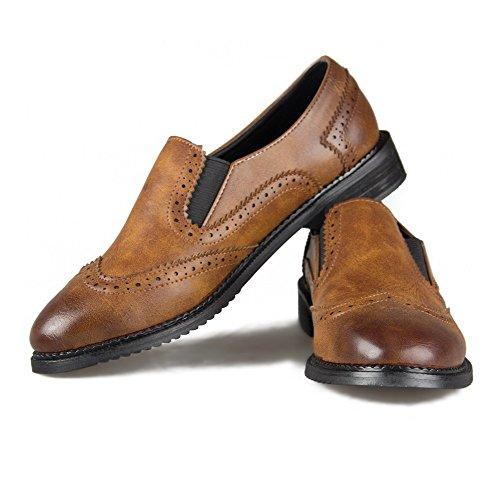 Amoonyfashion Femmes Pointues-bout Fermé-orteil Bas-talons Pompe-chaussures Avec Fil Et Courbes Style Marron