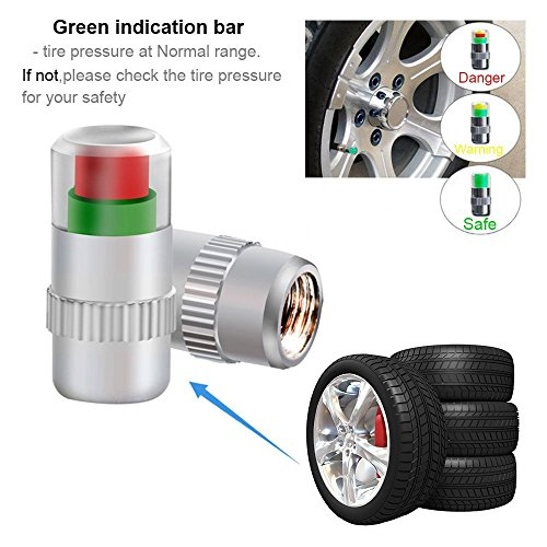 Diagtree 4Pcs/Lot 32 Psi 2.2 Bar valve stem caps Air Warning Alert Tire Valve Pressure Sensor Monitor Tyre Cap Indicator For Auto Car New 4PCS Universal Car Use (2.2 Bar 32PSI)