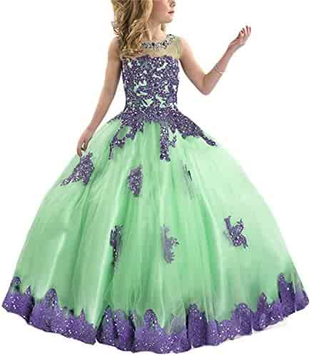 dffb306a2 ylovego White Green Little Girls Pageant Dress Purple and Green Ball Gown  Beads Lace Applique Floor