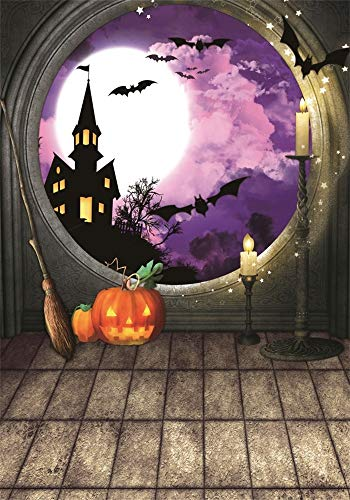 AOFOTO 5x7ft Halloween Window View Background Cloth Lighting Candles Deserted Castle in Forest Flying Bats Hallowmas Photography Backdrop Kids Trick or Treat Poster Wallpaper Photo Studio -