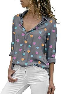 XLGX Impression d'amour Chemise Femme Doux Chic Manche Longue Boutton Poche Casual Shirt Col V Tee Top Travaille ELégant Blouse Mode