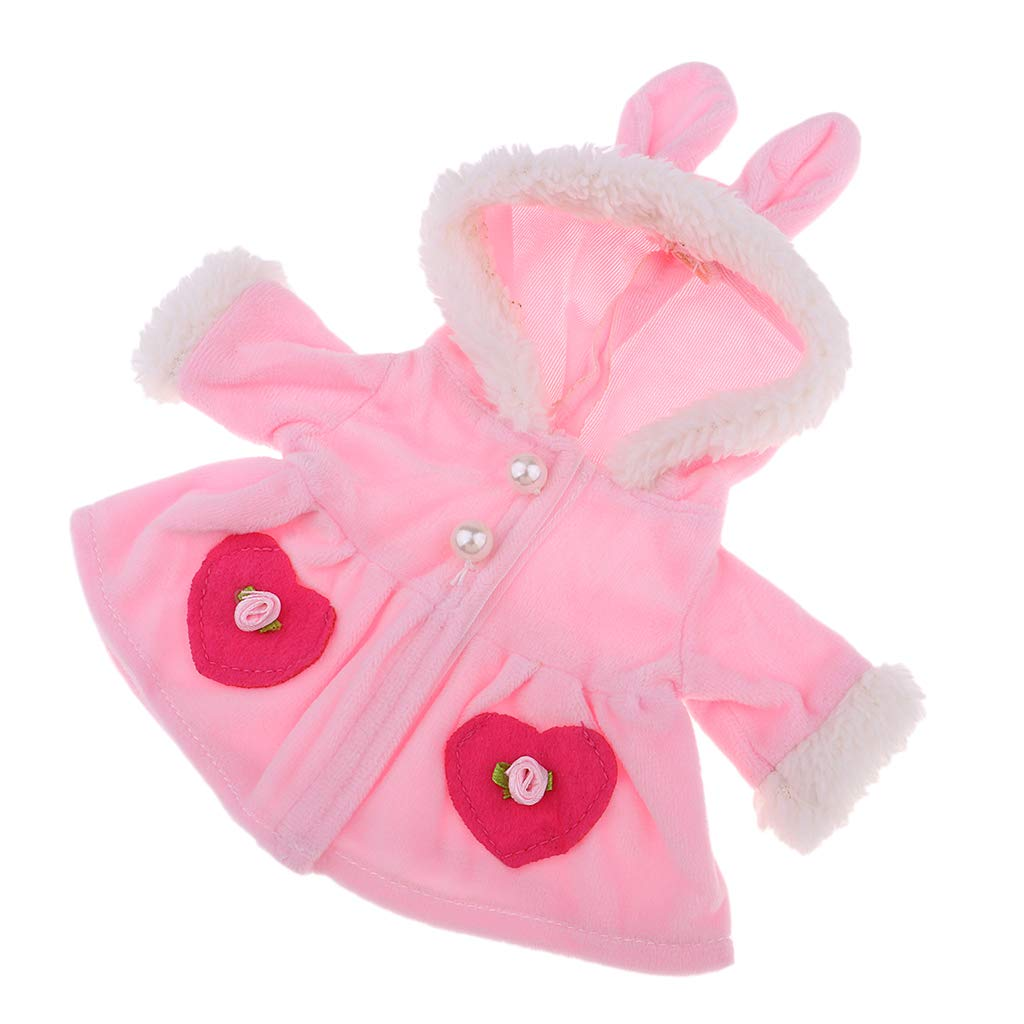 Baoblaze Cute Plush Rabbit Ears Hat Overcoat Outfit for Mellchan Baby 9-11inch Reborn Girl Dolls Clothes Accessories