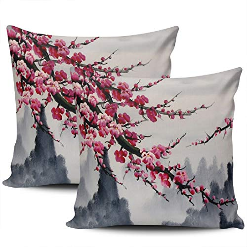 LEKAIHUAI Home Decoration Throw Pillow Cases Covers Traditional Ink Plum Blossom Mountain Abstract Pillowcases Square Two Sides Print 20x20 Inches Set of 2 (Are Color Blossoms What Plum)