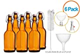 reusable glass soda bottles - Chefs Star CASE OF 6 - 16 oz. EASY CAP Beer Bottles with Funnel and Cleaning Brush - AMBER
