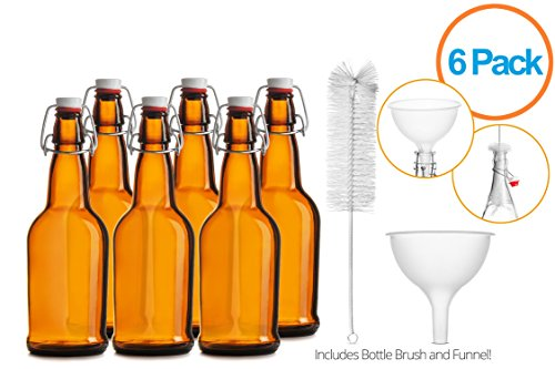 12 Ounce Bottle Case (Chefs Star CASE OF 6 - 16 oz. EASY CAP Beer Bottles with Funnel and Cleaning Brush - AMBER)