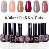 nail polish 2 colors gel - Gellen UV Gel Nail Polish Kit 6 Pastel Colors + Base Coat and Top Coat