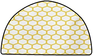 Floor Mats for Living Room Yellow and White,Hexagonal Pattern Honeycomb Beehive Simplistic Geometrical Monochrome,Yellow White,W24 x L16 Half Round Non-Slip Area Rug Pad