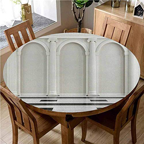 Pillar 3D Printed Round Tablecloth Antique Theme Classical Interior with Ionic Column Marble Floor Digital Image Desktop Protection pad D70 Inch Round Black and White