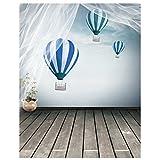 hot air balloon prop - TOOGOO(R) Wooden Floor Blue Hot Air Balloon Photography Backdrops Photo Props Studio Background 5x7ft