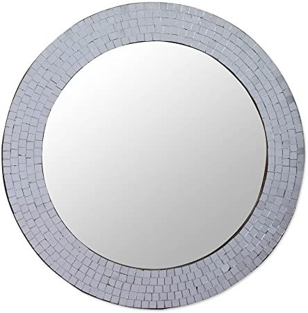 NOVICA Mosaic Glass Circle Wall Mounted Mirror from India, Metallic Silvery Glamour