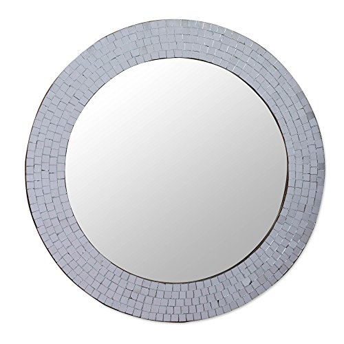 NOVICA Mosaic Glass Circle Wall Mounted Mirror From India, Metallic 'Silvery - Mirror India