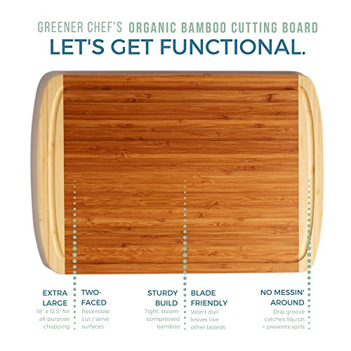 Extra Large Organic Bamboo Cutting Board for Kitchen - NEW CRACK-FREE DESIGN - Best Wood Chopping Boards w/Juice Groove for Carving Meat, Wooden Butcher Block for Vegetables & Serving Tray for Cheese by Greener Chef (Image #7)