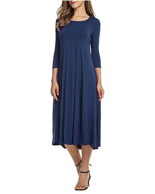 Moda Mujer Bolsillo Manga Larga Casual Loose Camiseta Vestido de Fiesta de Noche Azul oscuro S