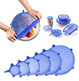 Lanting 6 Pcs Stretchable Food Saver Dishwasher and Freezer, Bowl Covers Reusable, Blue Silicone Stretch Lids