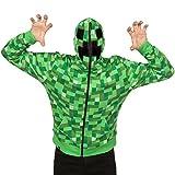 Minecraft Men's Creeper Premium Zip-Up Hoodie (Green, Large)