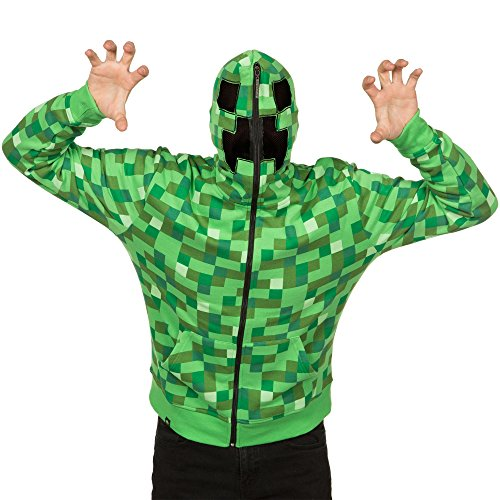 JINX Minecraft Men's Creeper Zip-Up Costume Hoodie, with Full Face Mask, Green, Small